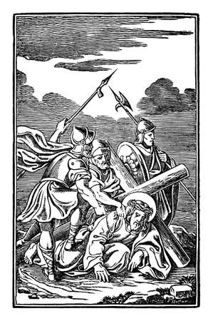 9th or ninth Station of the Cross or Way of the Cross or Via Crucis. Jesus falls for third time.Bible,New Testament. Antique vintage biblical religious engraving or drawing.