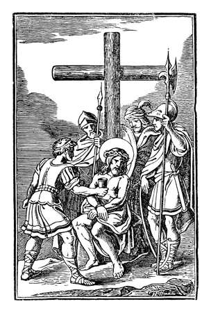 10th or tenth Station of the Cross or Way of the Cross or Via Crucis. Jesus is stripped of his clothes.Bible,New Testament.Antique vintage biblical religious engraving or drawing.
