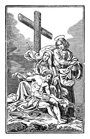 13th or thirteenth Station of the Cross or Way of the Cross or Via Crucis. Jesus is taken down from the cross.Bible,New Testament.Antique vintage biblical religious engraving or drawing.