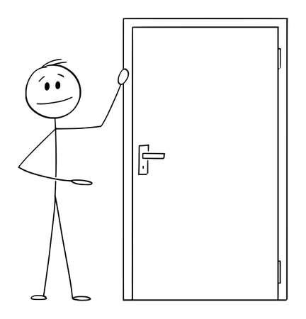 Man or businessman showing exit or entrance door , vector cartoon stick figure or character illustration. Ilustração