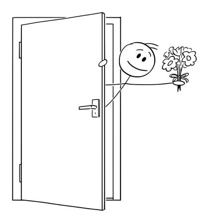 Man or lover incoming or sticking out of the door with valentine flowers , vector cartoon stick figure or character illustration. Ilustração
