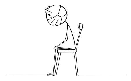 Frustrated man sitting on chair at home locked during lockdown quarantine, vector cartoon stick figure or character illustration