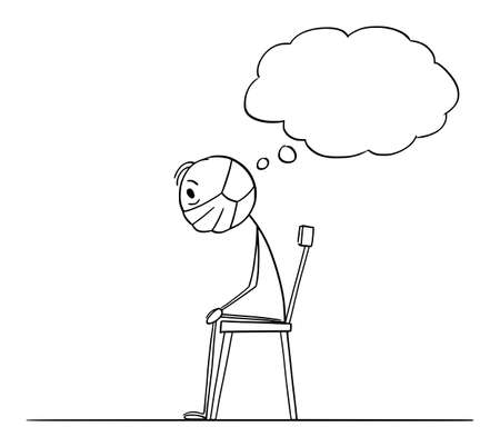 Frustrated man sitting on chair at home locked during lockdown quarantine and thinking, vector cartoon stick figure or character illustration.