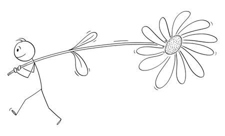 Man or lover carrying big flower to his love, Valentine concept , vector cartoon stick figure or character illustration.