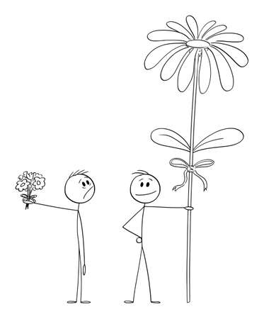 Man with small valentine bouquet is looking at big flower of another man or lover, vector cartoon stick figure or character illustration.