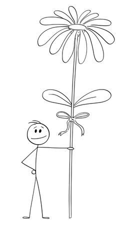 Man or lover holding big flower to his love, Valentine concept , vector cartoon stick figure or character illustration. Ilustração
