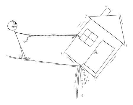 Man trying to save his house, loam mortgage or dept financial concept, vector cartoon stick figure or character illustration.