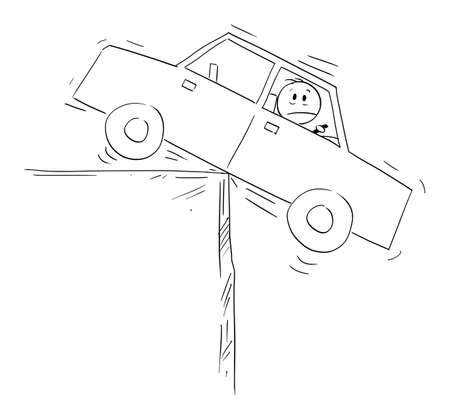 Man in car balancing on the edge,financial concept of risk, debt and loan, vector cartoon stick figure or character illustration. Ilustração