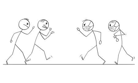 Two groups of people going to fight for masks , vector cartoon stick figure or character illustration.