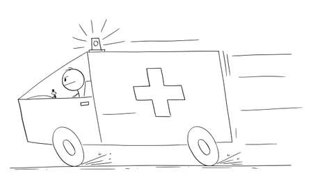 Ambulance responding to emergency, vector cartoon stick figure or character illustration.