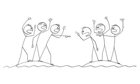 Two groups of angry people or nations fighting and arguing fro close islands, vector cartoon stick figure or character illustration. Ilustração