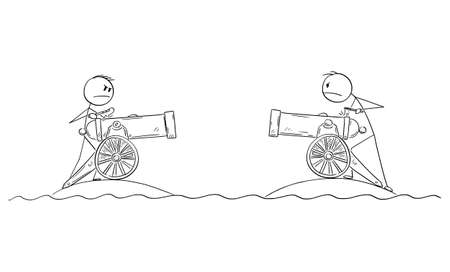 Two men with field artillery guns fighting in war from separated islands, vector cartoon stick figure or character illustration. Ilustração