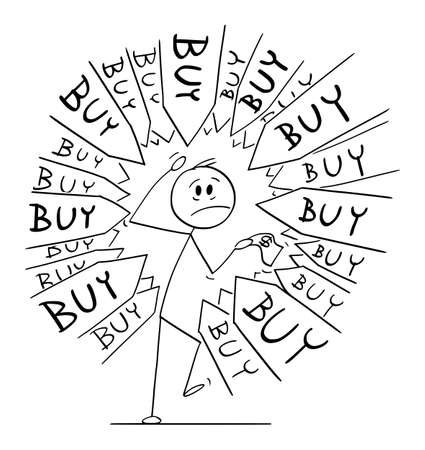 Client or customer under pressure to buy something, arrows pointing at him, vector cartoon stick figure or character illustration.