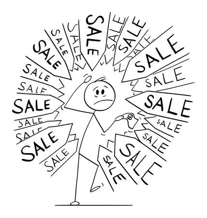 Client or customer under pressure to buy something in sale, arrows pointing at him, vector cartoon stick figure or character illustration.