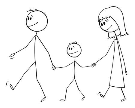 Parents with son or family on walk together, vector cartoon stick figure or character illustration.