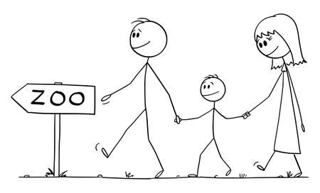 Parents with son or family walking to zoo, vector cartoon stick figure or character illustration.