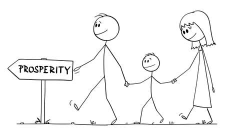 Parents with son or family walking to prosperity, home finance concept, vector cartoon stick figure or character illustration.