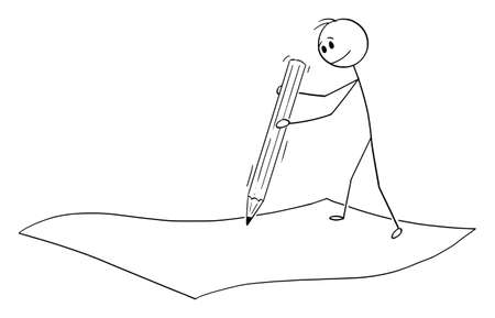 Businessman or man writing with pencil on sheet of paper, signing agreement, vector cartoon stick figure or character illustration.