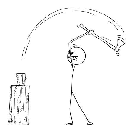 Man chopping fire wood or firewood with axe, vector cartoon stick figure or character illustration.