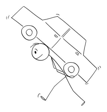 Man or driver carrying car on his back, transportation concept, vector cartoon stick figure or character illustration.