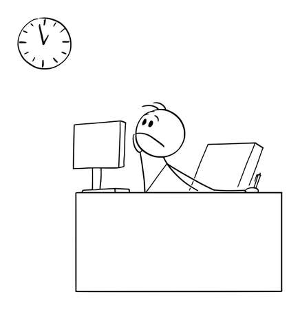 Bored or tired office worker or businessman watching wall clock wanting to go home, vector cartoon stick figure or character illustration.