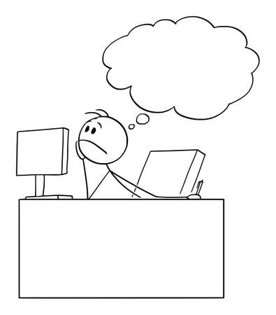 Bored or tired office worker or businessman dreaming or thinking, vector cartoon stick figure or character illustration. Ilustração