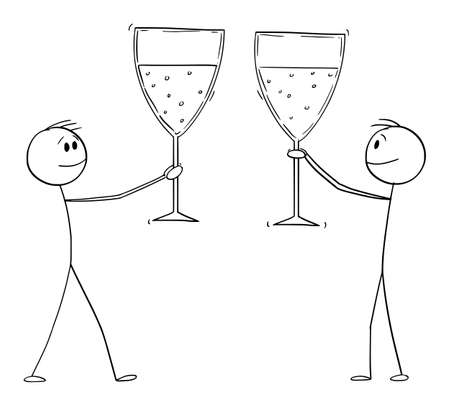 Two men or businessmen celebrating success with big glasses of wine or champagne, vector cartoon stick figure or character illustration.