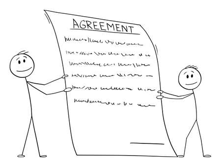Two men or businessmen holding holding contract or agreement to sign, vector cartoon stick figure or character illustration.