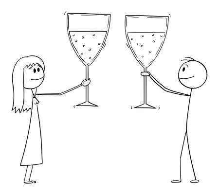 Man and woman or businessman celebrating success with big glasses of wine or champagne, vector cartoon stick figure or character illustration.