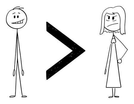 Man is greater than woman, inequality of sexes, vector cartoon stick figure or character illustration.