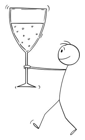 Man carrying or holding big glass of champagne or wine to celebrate success, vector cartoon stick figure or character illustration. Ilustração