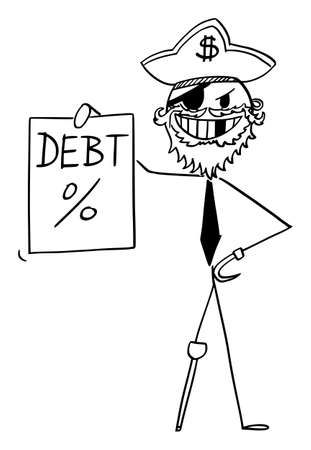 Pirate businessman with promissory note, debt or loan concept, vector cartoon stick figure or character illustration.