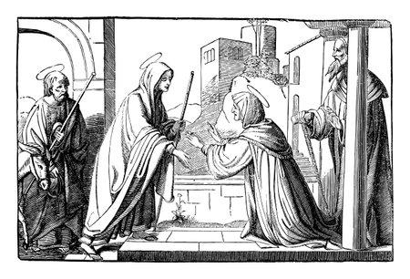 Elizabeth, mother of John the Baptist, visited by virgin Mary, mother of Jesus Christ.Bible,New Testament,Luke 1. Vintage antique drawing.