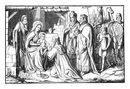 Three kings of wise men from East visit newborn Jesus in Bethlehem and giving him gifts. Bible, New Testament, Matthew 2.Vintage antique drawing.
