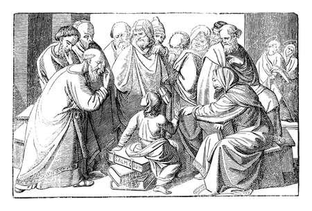 Boy Jesus talking with teachers in Jerusalem temple. Bible, New Testament, Luke 2. Vintage antique drawing.