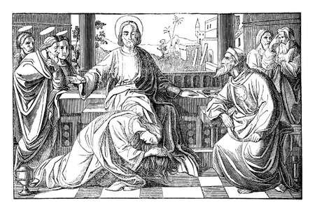 Mary of Bethany, the sinful woman is kissing and washing feet of Jesus in House of Simon. Vintage antique drawing. Bible, New Testament, Luke 7.