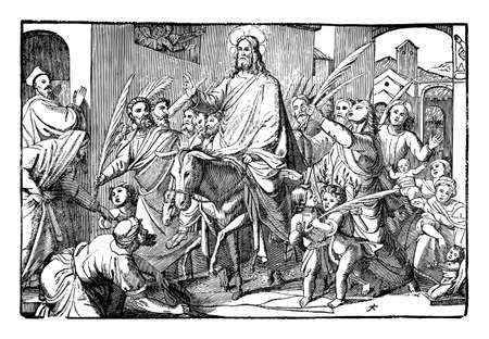Jesus come on donkey to Jerusalem triumphal as king welcomed by crowd. Vintage antique drawing. Bible, New Testament.