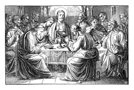 Jesus and the Last Supper. Twelve apostles or disciples are eating final meat. Basis of the Eucharist.Vintage antique drawing. Bible, New Testament. Vettoriali