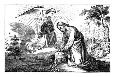 Jesus prays in Gethsemane and talking with angel. Disciples are falling to sleep.Vintage antique drawing. Bible, New Testament.