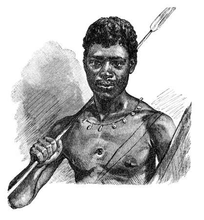 Young African Bantu warrior with spear and shield. Culture and history of Africa. Vintage antique black and white illustration. 19th century.
