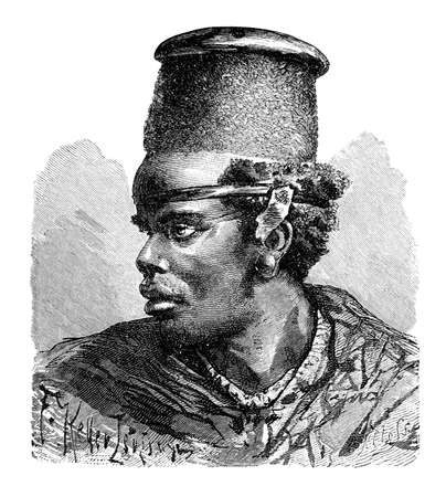 African Bantu man. Culture and history of Africa. Vintage antique black and white illustration. 19th century. Stockfoto