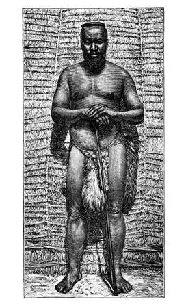 King Goza, African Bantu people. Culture and history of Africa. Vintage antique black and white illustration. 19th century.