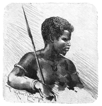 Young African Warrior with spear. Culture and history of Africa. Vintage antique black and white illustration. 19th century. Stockfoto