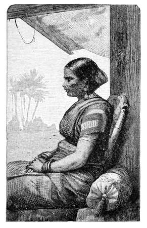 Klingalese woman, Indonesia or India. Culture and history of Asia. Vintage antique black and white illustration. 19th century.
