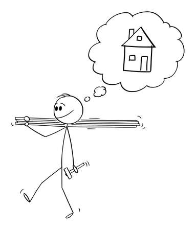 Man Carrying Wood Boards or Planks and Hammer, Going to Build a House. Vector Cartoon Stick Figure Illustration Stok Fotoğraf - 165840735
