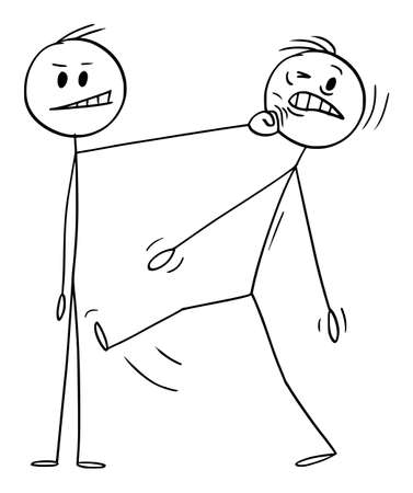 Man Hit Another Man Fist by His Face, Vector Cartoon Stick Figure Illustration