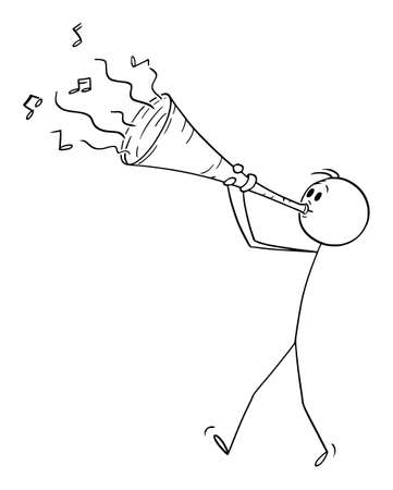 Musician Playing Music on Big Trumpet, Vector Cartoon Stick Figure Illustration Stok Fotoğraf - 165840745