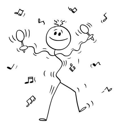 Dancing Musician Performing Music with Maraca or Rumba Shaker, Vector Cartoon Stick Figure Illustration