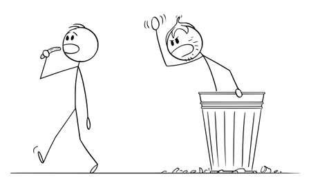 Beggar Homeless Man Living in Garbage Can , Vector Cartoon Stick Figure Illustration Stok Fotoğraf - 165840752