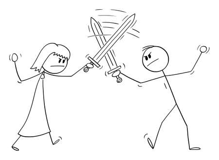 Man and Woman Fighting with Swords, Relationship Problem. Vector Cartoon Stick Figure Illustration